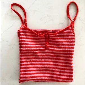 GAP Body Red Striped Tank Top